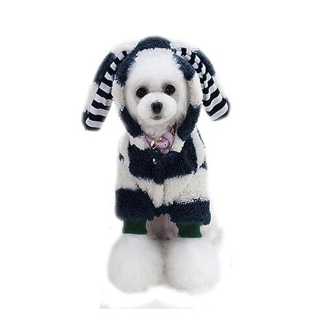 OWIKAR Perro Perro Suéter Cachorro Perro Perro Abrigo Gran Oído Conejo Grueso Coral Terciopelo Capucha Ropa