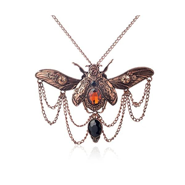 Zealmer Shoopic Steapunk Gear Scarab Beetle Dragonfly Pendant Cog Necklace 5
