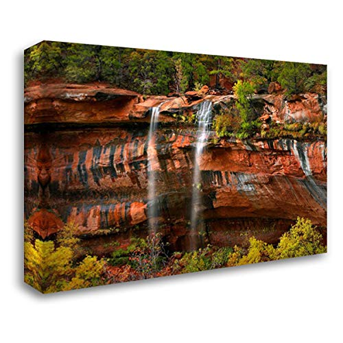 Cascades Tumbling 110 feet at Emerald Pools, Zion National Park, Utah 37x28 Gallery Wrapped Stretched Canvas Art by Fitzharris, Tim