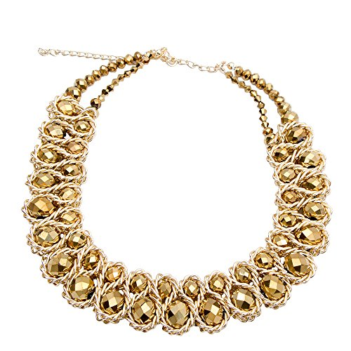 Acrylic Pearl Necklace (AWAYTR  Ladies Choker Necklace Gold Tone Fashion Statement Big Multi Color Crystals (Golden))