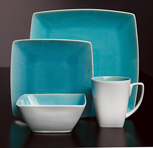 Gibson Elite Urban Luxe 16-Piece Dinnerware Set, Turquoise - Sets Include: 4 Piece 12.75 Inch Dinner Plate, 4 Piece 9.75 Inch Dessert Plate, 4 Piece 7.5 Inch Bowl, 4 Piece 12Oz Mug Dishwasher and Microwave Safe Stoneware Dinnerware - kitchen-tabletop, kitchen-dining-room, dinnerware-sets - 51ecR8T5R4L -