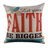 LINKWELL 18''x18'' Fashion Let your Faith be Bigger than Your Fear Burlap Cushion Covers Pillow Case