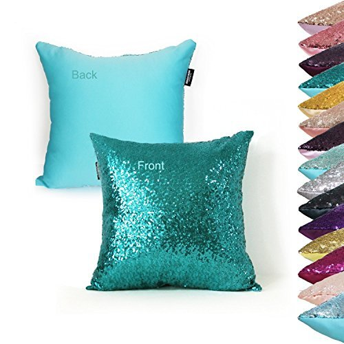 AMAZLINEN(TM) Decorative Glitzy Sequin & Comfy Satin Knit Pillow Cover 18 x 18 Pillow Covers,Hidden Zipper Design(Teal)