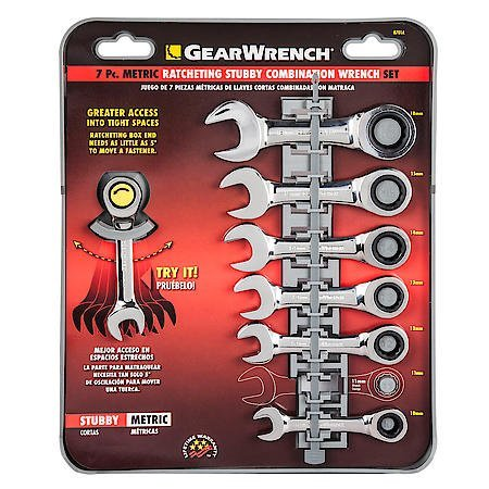 (Gearwrench 7 Piece Metric Stubby Combination Ratcheting Wrench Set)