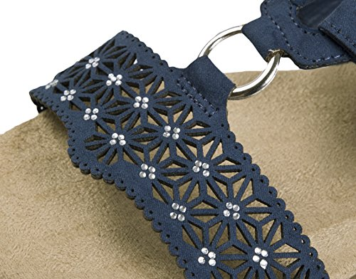 Lora Dora Womens Low Wedge Comfort Sandals Single Fasten - Navy PiwaVT