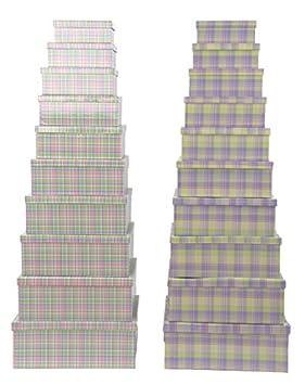 Item - Set 10 Cajas de cartón Forrado, diseño Cuadros, 43 x 35 x