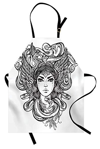 Occult Apron by Ambesonne, Sketch of Tribal Spiritual Female Woman Portrait Folk Queen Mythical Medusa Icon, Unisex Kitchen Bib Apron with Adjustable Neck for Cooking Baking Gardening, Black White