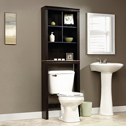 Dark Cherry Space Saver - Over the Toilet Bath Space Saver Etagere, Two Adjustable Shelves it Cubby Hole Storage, Durable Faux Granite bottom Shelve, Sturdy Engineered Wood Construction, Deep Dark Wood Finish + Expert Guide