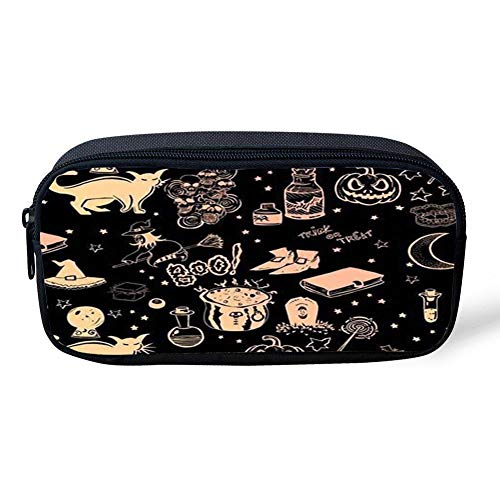 BuautypencilbagKOO Halloween Black Cat PatternPencil Case Pen Bag Makeup Pouch Durable Students Stationery with Zipper ()