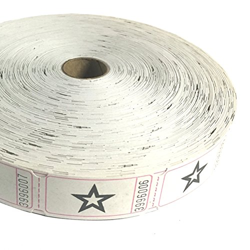 1 X 2000 White Star Single Roll Consecutively Numbered Raffle Tickets
