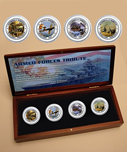 Tribute Wooden Box (Armed forces tribute four coin set in wooden box)