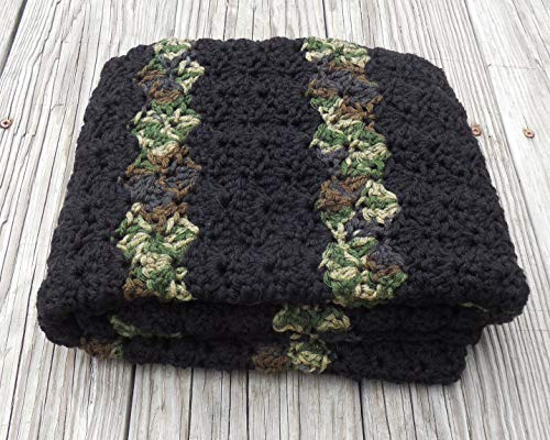 - Crochet Black and Camouflage Stripes Baby Afghan