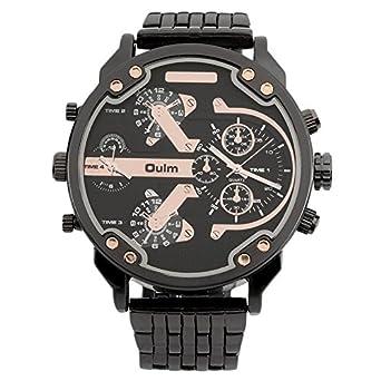 Ballylelly Oulm hombres 2 movimiento Big Dial correa de acero inoxidable reloj deportivo 3548 forma redonda reloj casual mejores regalos: Amazon.es: Relojes