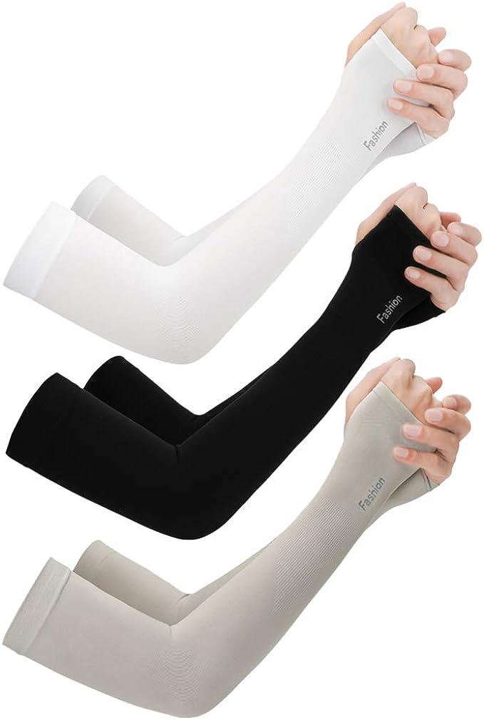 Armlinge Anti-UV Ärmel Arm Schutz Unisex Sport Running Atmungsaktiv Weiß//Schwarz