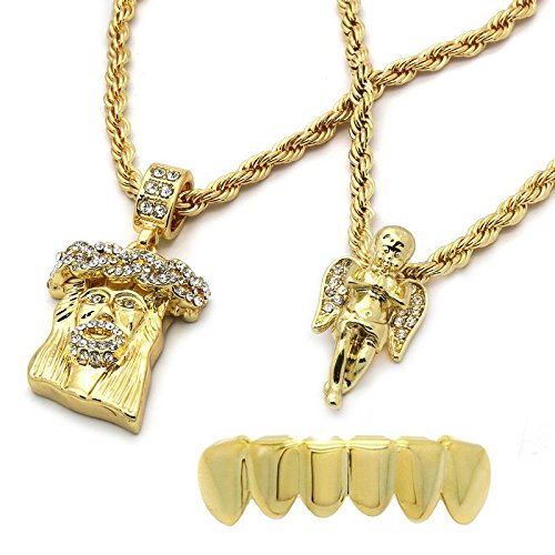 14K Gold Plated Jesus Pendant and Angel Pendant with Lower Grillz Combo (Set Yellow Grillz)