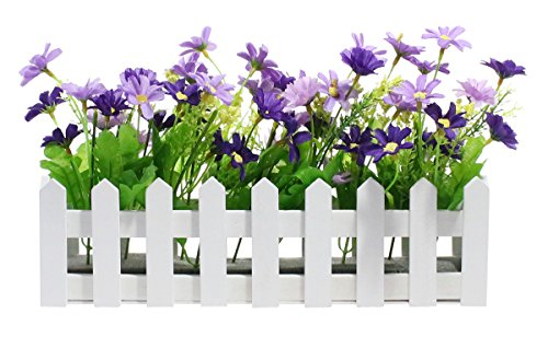 Purple Daisy Flower (Decorative Wooden Picket Fence Window Box / Flower Box with Artificial Daisies - Purple & Violet, 11.7