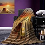 smallbeefly Boho Digital Printing Blanket Stack Stones Candle Chakra Meditation Zen Yoga Horizon Backdrop Picture Summer Quilt Comforter 80''x60'' Orange Sand Brown