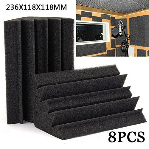 FidgetGear Corner Bass Trap Acoustical Studio Foam Soundproofing Absorbers 8pcs Black Pack