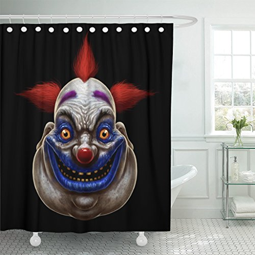 Emvency Shower Curtain Red Horror Evil Scary Smiling Fat Clown Halloween Circus Character on Black Mask Waterproof Polyester Fabric 72 x 72 inches Set with Hooks]()