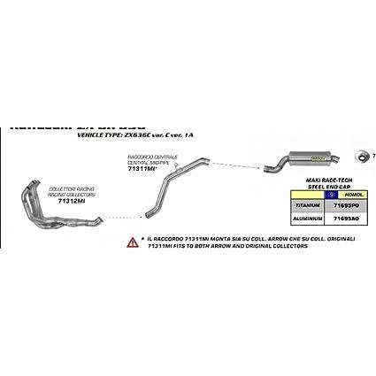 Amazon com: ARROW CENTRAL LINK PIPE FOR KAWASAKI ZX-6R 636 2005-2006