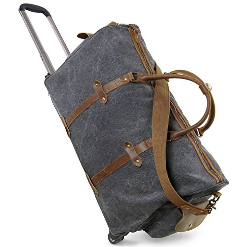 Lifewit oversized luggage rolling duffel bag canvas leather wheeled travel weekend bag for Leather luggage wheeled duffel