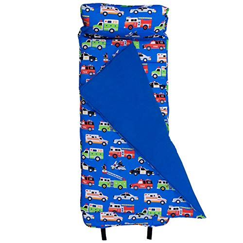 Wildkin Original Nap Mat, Features Built-In Blanket and Pillow, Perfect for Daycare and Preschool or Napping On-the-Go, Olive Kids Design – Heroes