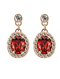 Yoursfs 18K Rose Gold Plated Fashion Austrian Crystal Drop Earrings Dangling Halo Red Stone Earring Vintage Style Jewelry for Women