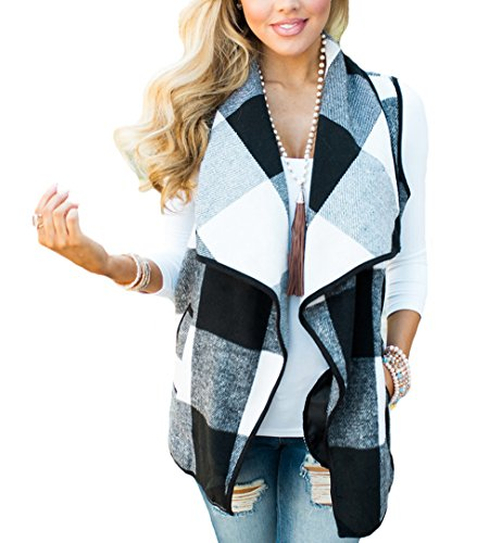 Winter Vest Jacket (Hellana Women's Casual Open Front Plaid Cardigan Lapel Down Vest Jacket With Pockets Grey Plaid M)