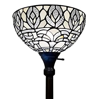 """Amora Lighting Tiffany Style Floor Lamp Torchiere Standing Vintage Antique 72"""" Tall Stained Glass White Mahogany Traditional Peacock Light Decor Bedroom Living Room Reading Gift AM275FL12B"""