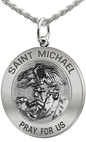 (US Jewels And Gems Men's 0.925 Sterling Silver Saint Michael Antique Finish 1in Round Pendant 1.5mm Rope Necklace, 24