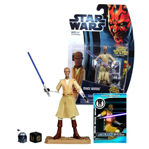 """Hasbro Year 2012 Star Wars The Clone Wars Galactic Battle Game Series 4 Inch Tall Action Figure - CW8 MACE WINDU with Purple Lightsaber, Jango Fett Helmet with """"Explosives"""", Battle Game Card, Die and Figure Display Base"""