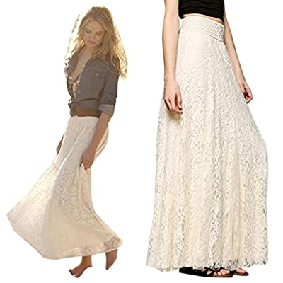 Lookatool Skirts, Women Lace Double Layer Pleated Long Maxi Elastic Waist Skirt