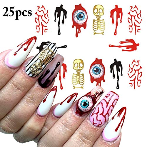 Halloween Nail Sticker, Kapmore 25 Sheets Halloween Nail Decals Horrible Eyes Scary Blood Nail Sticker Decorative Nail Art Decal Manicure Sticker Nail DIY decals for Halloween Cosplay Party -