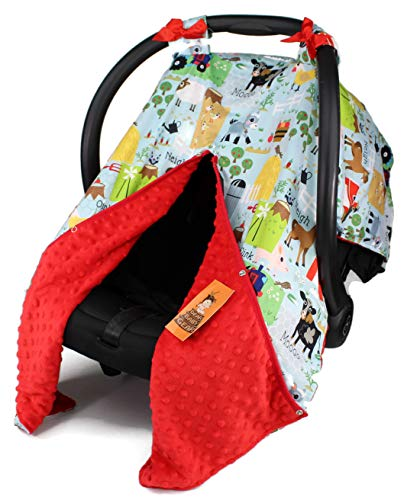 Dear Baby Gear Baby Car Seat Canopy, Blue Farm Life Animals and Tractor, Red Minky ()