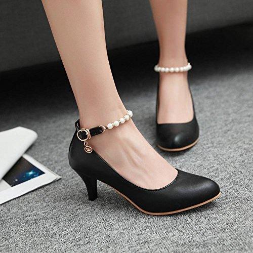 MissSaSa Damen Knöchelriemchen kitten heel Pumps mit künstlich Perlen Schwarz