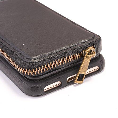 portafoglio con nbsp;e con nbsp;Custodia protettiva 8 TPU pelle rotazione 7 cerniera QianHaoQJu nero rimovibile iphone di a Rosso borsa Per rosso WZt74afAq
