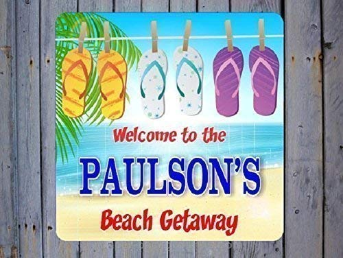 fd34dbc5143 Amazon.com: Flip Flops Personalized Beach House Sign with Beach ...