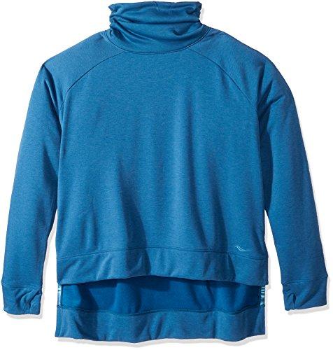 (Saucony Women's Funnel Neck Sweatshirt, Deep Sea, 1X)
