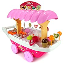 Toyshine Ice Cream Kitchen Play Cart Set Toy With Lights And Music
