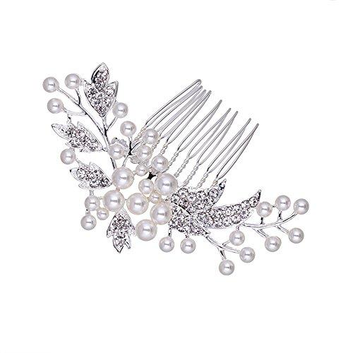 Austrian Crystal Simulated Pearl Floral Leaf Hairwear Wedding Hair Accessories - Scunci Hair Dryer