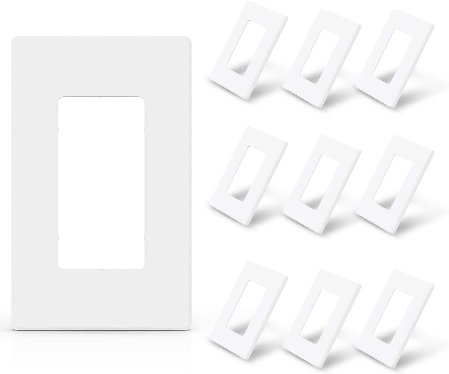ELEGRP 1-Gang Screwless Decorative Wall Plates, Standard Size Unbreakable Thermoplastic Faceplate Cover for Decorator Receptacle Outlet Switch, UL Listed (10 Pack, Matte White)