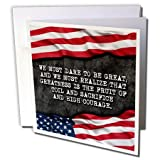 """We must dare to be great... Roosevelt patriotic quote. Greeting Card is a great way to say """"thank you"""" or to acknowledge any occasion. These blank cards are made of heavy-duty card stock that allows for smudge free writing. Cards are creased for easy..."""