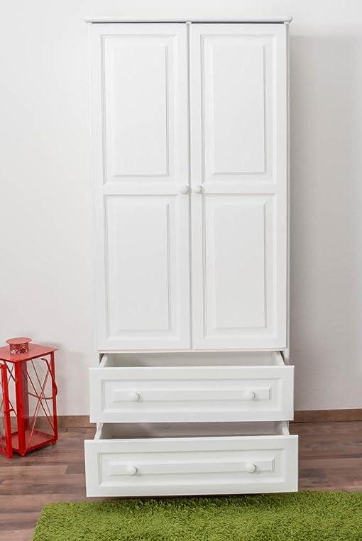 Garderobenschrank Landhaus Kiefer, Farbe: Weiß 190x80x60 cm: Amazon ...