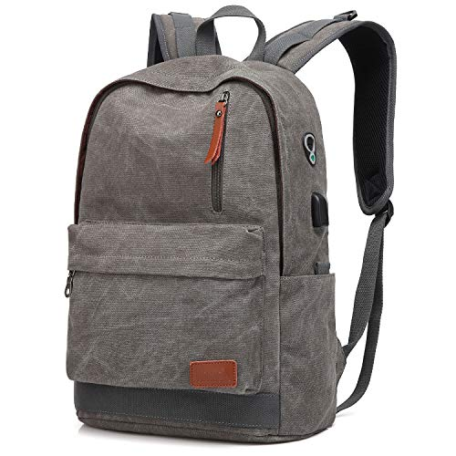 Canvas Laptop Backpack, Waterproof School Backpack With USB