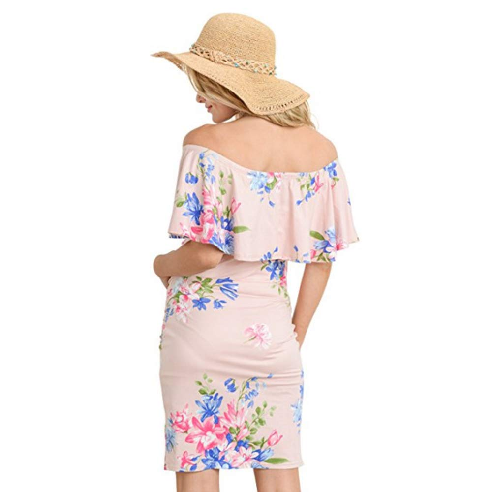 Vjj Aidear Womens Floral Ruffle Off Shoulder Strapless Maternity Pencil Slim Dress Fitted Bell Flower Printed