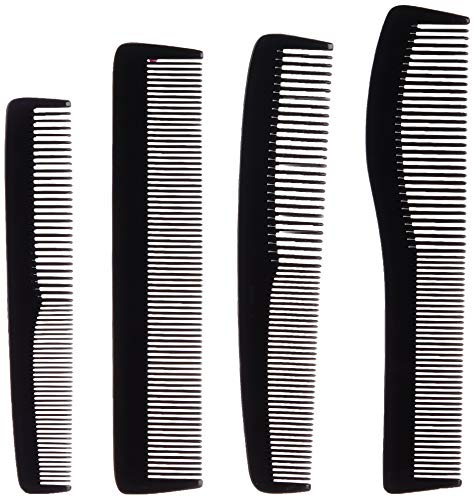 Amazon Brand – Solimo Handmade Dual Colour Set of 4 Combs: 1 Curved All-Purpose, 1 Long All-Purpose, 1 Fine-Tooth, 1 Easy-Grip All-Purpose Comb