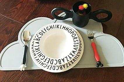 Leisial Set de table en silicone /étanche en forme de nuage 1 pi/èce Set de table pour enfant