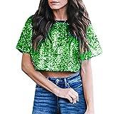 Shirts for Teen Girls Sale Women Sexy Loose Sequin Glitter Blouses Summer Casual Shirts Crop Top Green