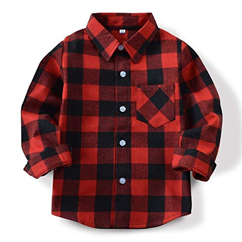 Boys' Long Sleeve Button Down Plaid Flannel Shirt Red Black Tag 130-US 5T (Ps2 Shirt)