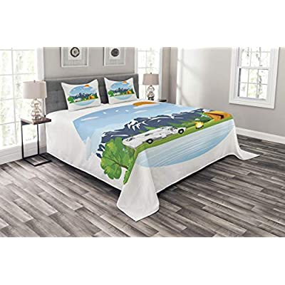 ABAKUHAUS Wohnmobil Tagesdecke Set, Wald Camping Sommer, Set mit Kissenbezügen Sommerdecke, für Doppelbetten 220 x 220…